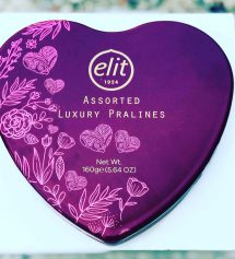 Elit Çikolata Luxury Pralines Çikolata Metal Kalp Kutu 160gr